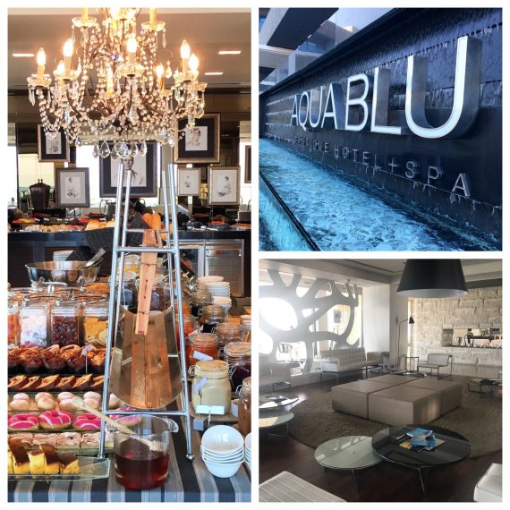 Clockwise from left: The wonderful breakfast buffet served in Cuvée, Aqua Blu water feature, stylish interiors in the hotel lobby