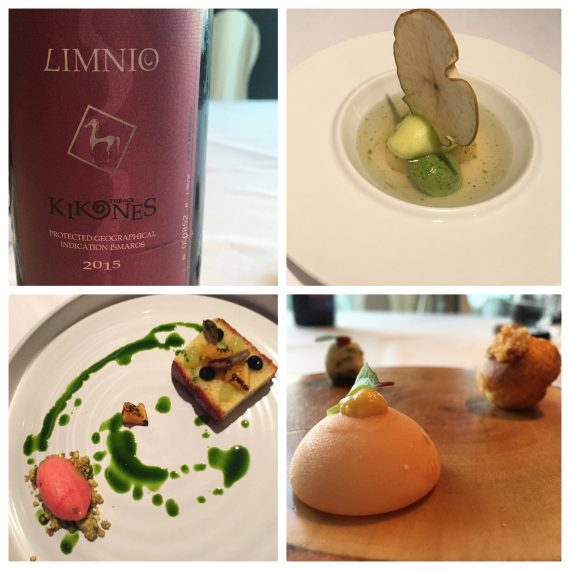 Clockwise from top left: Limnio wine, pre-dessert, snacks, olive oil cake and blood orange sorbet