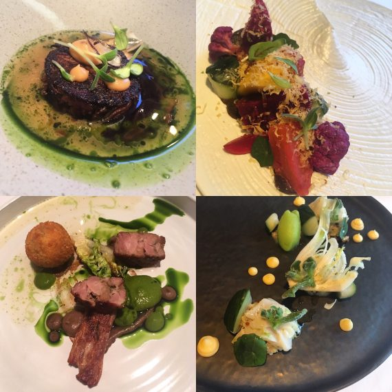 Clockwise from top left: Beef short rib, our garden, red sea bream ceviche, lamb
